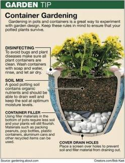 Container gardening is great for patios and small spaces.  The key is to properly prepare the container.  #gardening #container #pots http://menloparkmartialarts.com: Garden Container, Container Gardens, Green Thumb, Gardening Ideas, Outdoor, Container Ga
