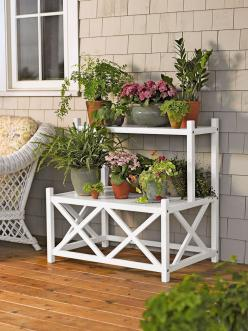 Cottage Plant Stand   Two Tier Plant Stand for Indoor or Outdoor Use: Garden Ideas, Outdoor Plants, Plant Stands, Cottage Plant, Gardening Ideas, Patio, Cottages, Indoor Gardening
