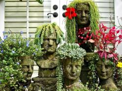 Cranium Garden  Not exactly upcycled, but certainly unique, these head planters are bound to elicit smiles and admiration.: Head Planters, Succulent, Garden Ideas, Garden Art, Outdoor, Gardens, Gardening, Hair, Flower