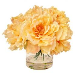 Create a lush tablescape or charming vignette with this lovely faux peony arrangement, nestled in a glass vase for classic appeal.  ...: Decor, Yellow Peony, Glass, Golden Yellow, Vignette, Peonies