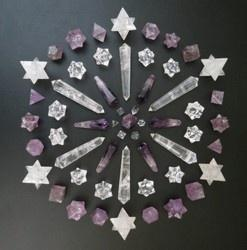 ::Crystal Grids::  many people create crystal grids and program them with an intension.  This intension could be for healing, higher consciousness, inner peace etc..  Crystals are chosen intuitively to create the grid based on what the intension is, and t