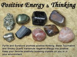 Crystals for Positive Energy and Positive Thinking — Pyrite and Sunstone promote positive thinking. Black Tourmaline and Smoky Quartz transmute negative energy into positive. Keep your favorite positivity boosting crystals on you or in your environment.: