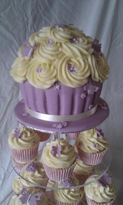 Cupcake Cake- this is a great idea for a wedding cake!: Wedding Cake Recipe, Wedding Cupcakes Ideas Purple, Purple Wedding Cupcake Tower, Girl Baby Shower Cupcake Cake, Giant Cupcakes, Wedding Cakes, Lavender Cupcake, Purple Cake, Birthday Cake