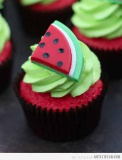 Cute Food, Cute Cupcakes, Designer Cakes, Cupcakes Decorating, Kids Cupcakes, Cupcakes Ideas, Cute Cake - Part 2: Cup Cakes, Watermelon Cupcakes, Sweet, Kids Cupcake, Cupcake Ideas, Summer Cupcake, Cupcakes Decorating, Cute Food