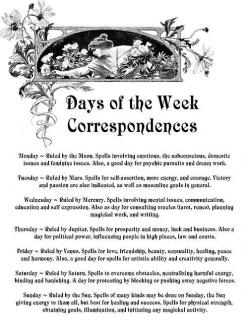 ༺Days of the Week Correspondences༻: Magic, Days, Wiccan, Book, Pagan, Forest, Week Correspondences, Shadows