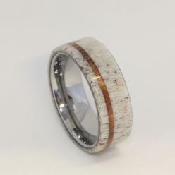 Deer Antler with Oak Pinstripe Titanium Ring - Wow this would be the coolest man's wedding ring ever.: Mens Wedding Band, Wedding Bands Men, Antler Wedding Band, Titanium Rings, Unique Mens Wedding Ring, Deer Antlers, Men Wedding Ring, Oak Pinstripe,