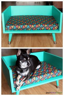 DIY mid century style pet bed - with Star Trek cushion! (geek home decor / geek gifts): Geek Gifts, Century Style, Pets, Mid Century, Pet Beds, Star Trek