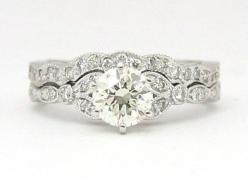 Don't we all wish..... :) It's a pretty standard set, but one I adore if I were able to get a set! ;): Vintage Ring, Wedding Ideas, Diamond, Wedding Band, Wedding Rings, Band Fit, Engagement Rings