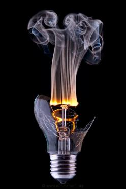 dont pour cool water on a hot bulb thats turned on... it explodes. found this out last night: Picture, Ideas, Inspiration, Art, Smoke, Photography