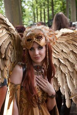 DSC05452 by Phillostar Gone Ballistic, via Flickr: Owl Halloween Costume, Halloween Angel Costume, Wing Costume, Beautiful Angel, Fantasy Angel, Steampunk Halloween Costume, Steampunk Mask