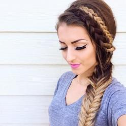Dutch braids and a side fishtail from vickymanzhosov. source: Ombre Braid, Fish Tail, Hairstyles, Hair Styles, Makeup, Dutch Braids