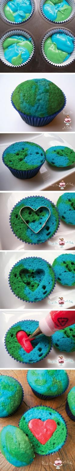 Earth Day Cupcakes!: Earth Cupcakes, Sweet, Food, Cup Cake, Earth Day, April 22Nd, Cupcake Idea, Earthday, Dessert