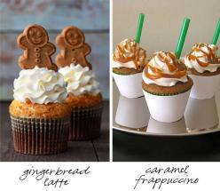 Easy enough to do, pretty cupcake and some of those Pepperidge Farm Gingerbread Cookies on top and on the right drizzle caramel sauce in a swirl and add cut up green straws to the cupcake!: Cupcake Recipes, Cupcakes Recipe, Gingerbread Cupcake, Starbucks