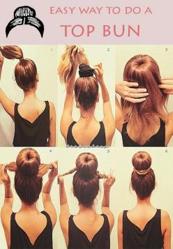 Easy Way to do a Top Bun #hairstyle hmmm should i wear this? my hair is definitely long enough: Hair Ideas, Hairstyles, Make Up, Hair Styles, Sockbun, Makeup, Socks, Beauty, Sock Buns