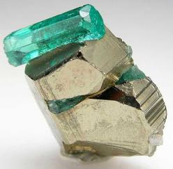 Emerald on Pyrite: Emeralds, Gemstones, Precious Stones, Gem Stones, Rocks Minerals, Pyrite Unique, Crystals Minerals, Stones Crystals