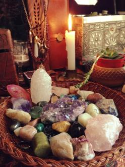 Energy crystals, inspirational stones, candles, and incense support balance and flow, and create ambiance.: Buddha Interior, Healing Crystals, Sacred Space, Crystal Healing, Stones, Crystals Rock, Chakra