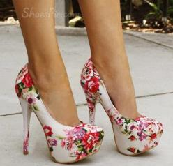 Extraordinary Flower Print Platform Stiletto Heels: Shoess, Highheels, High Heels, Beautiful Rose, Summer Top, Shoes Shoes