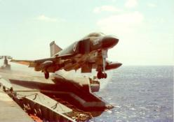 F-4K FG.1 Phantom waist cat launch, HMS Ark Royal, June 1974: Cat, F 4 Phantom, Airplane, Aircraft, Air Arm, Aircrafth S Carrier, Royal Navy, F4Phantom
