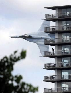 FA-18 Hornet Fly-by apartments in downtown Detroit, MI.: Picture, Photos, Stuff, Airplane, Aircraft, Fighter Jet, Apartment, Planes, Photography