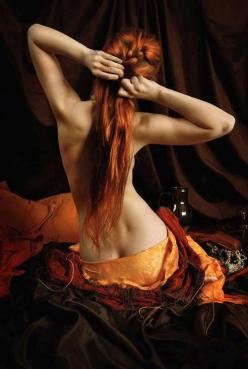 Faceless, turned away, the dream of a mystery woman unknown and unknowable. She emerges from desire and fear, she offers no comfort.: Red Heads, Girl, Red Hair, Color, Art, Beautiful, Redheads, Redhair, Photo