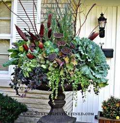 Fall Front Porch and Fabulous Urn Planter - Fox Hollow Cottage: Urn Decorations, Fall Front Porches, Container Gardens, Urn Planters, Fall Porches, Fall Container, Serendipity Refined, Container Gardening