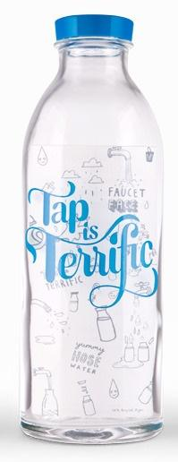 "Faucet Face ""Tap Is Terrific"" Glass Water Bottle: Package Plastic, Package Bottle, Bottle Package Design, Bottle Design, Dishwasher, Package Design Bottle"