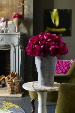 faux flowers by Abigail Ahern: via desire to inspire/I love this color & can't believe these are faux: Interior, Color, Dream, Deep Colour, Flower Garden Ideas, Display Ideas, Fireplace, Peonies
