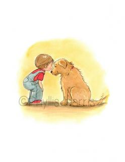First Love Illustration - Little Boy and Golden Retriever -Beloved Pet Art: Pet Art, Love Illustration, Golden Retrievers, Golden Retriever ️Dogs, Beloved Pet, Little Boys