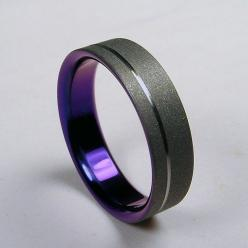 Google Image Result for http://24.media.tumblr.com/tumblr_llrhfojPZX1qbccp0o1_500.jpg: Titanium Wedding Bands, Color, Weddings, Titanium Wedding Rings, Groom, Black And Purple Wedding Ideas, Mens Wedding Rings Black