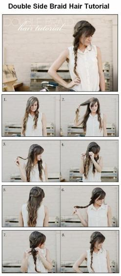 Hairstyle: How to make a Double Side Braid: Hairstyles, Braid Hair Tutorials, Hair Styles, Long Hair, Makeup, Double Side, Side Braids