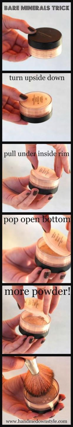 Hand Me Down Style: Getting the last bit of your Bare Minerals! - love this stuff. I have used it for years.: Minerals Trick, Hand, Bit, Beauty Tips, Idea, Style, Bareminerals, Makeup