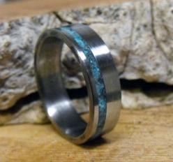 Hey, I found this really awesome Etsy listing at http://www.etsy.com/listing/62236648/titanium-ring-with-turquoise-inlay: Turquoise Inlay, Titanium Rings, Engagment Rings, Wedding Stuff, Turquoise Jewelry, Wedding Rings, Men Rings