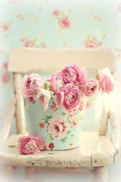 ..how beautiful...the old worn chair..floral pail with pink roses...AND the wallpaper!!!!!!!!!!!!!!!!!: Rose, Pastel, Color, Shabby Chic, Pink, Flowers, Pretty, Shabbychic, Floral