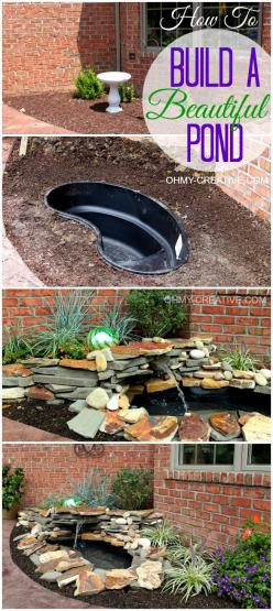 How to build a beautiful back yard pond and water feature cheaply!  |  OHMY-CREATIVE.COM #Pond #Fountain #Garden: Pond Idea, Water Features, Outdoor Pond, Diy Backyard, Back Yard, How To Build