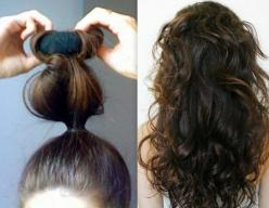 How to Curl Your Hair at Home Using a Sock not sure if this will work with my hair, but worth a try.: Sock Bun Curl, How To Curl, Hair Trick, Long Hair, Diy Curl, Easy Overnight Curl, Hair Style, Sock Curl