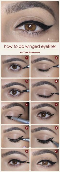 How to Do Winged Eyeliner | Divine Caroline - I literally mess this up, every. single. time.: Makeup Tutorial, Eyeliner Tutorial, Make Up, Cat Eye, Eye Makeup, Cateye, Wingedeyeliner, Winged Eyeliner, Eye Liner