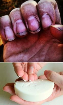 How To Keep Your Nails Clean When Gardening: You don't like wearing gloves when gardening, What to do?!, Just Slide your fingernails across soap bar to prevent dirt from collecting underneath!: Alternative Gardening, Prevent Dirt, Idea, Cleanses, Gard