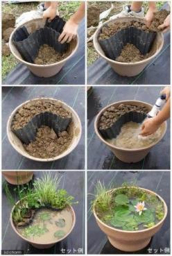How to make a miniature pond in a pot - Add some goldfish and you won't have mosquito worries. Use gravel instead of the dirt and the water will be clearer. WANT TO TRY THIS!: Ponds, Craft, Garden Ideas, Water Gardens, Can, Gardening, Diy, Watergarden