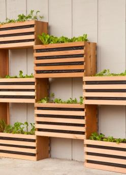 How to: Make a Modern, Space-Saving Vertical Vegetable Garden: Garden Diy Project, Vegetable Gardening Idea, Vertical Vegetable Garden, Vertical Garden, Modern Garden, Diy Garden, Outdoor Planter Idea