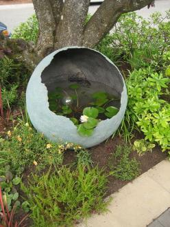 http://www.littleandlewis.com/commissioned.html This is one AWESOME concrete sphere used as a water garden.: Garden Entry, Garden Ideas, Water Gardens, Water Features, Waterfeature, Watergardens