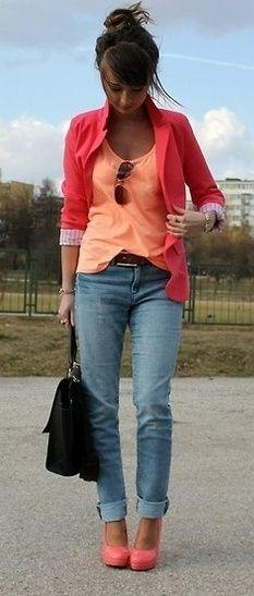 I love blazers!: Colour, Coral, Color Combos, Style, Bright Color, Spring Summer, Outfit, Peach