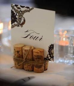 if using corks for name cards..... burlap twine to wrap, make higher  number card to match other paper goods: Wine Corks, Table Card, Place Card, Wedding Ideas, Place Setting, Winecork, Table Numbers
