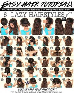 In this hair tutorial video, learn how to create 6 easy, 5 minute, lazy hairstyles for long hair, with braids, messy buns, and ponytails.: Messy Bun, Hair Styles, Hairdos, Hair Tutorial, Lazy Hairstyles, Hair Do, Everyday Updo, Lazy Girl, Easy Everyday Ha