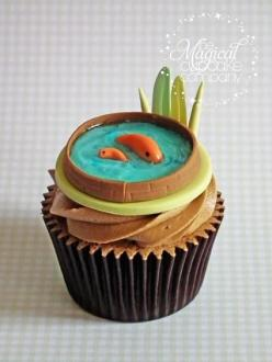 Koi Pond Cupcake...quite possibly the most awesome cupcake i have ever seen!!!: Cupcakes, Koi Ponds, Cupcake Ideas, Cup Cake, Awesome Cupcake, Fish Cupcake, Pond Cupcake, Creative Cupcake