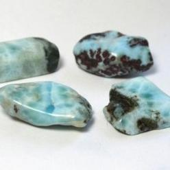 Larimar awakens feminine power and soothes the emotions.      Created by volcanic activity, it balances water and fire energy     Powerful throat chakra stone, assists in expression of emotions     Teaches respect, love and nurturing     Cleanses unhealth