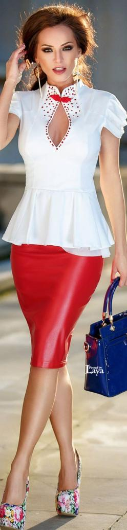 ♔LAYA♔ATMOSPHERE FASHION♔: Red And White, Dresses Clothes, Leather Skirts, Street Style, Fashion Street, Atmosphere Fashion, Womens Outfits, Moda Fashion Woman Makeup, Outfit Dresses
