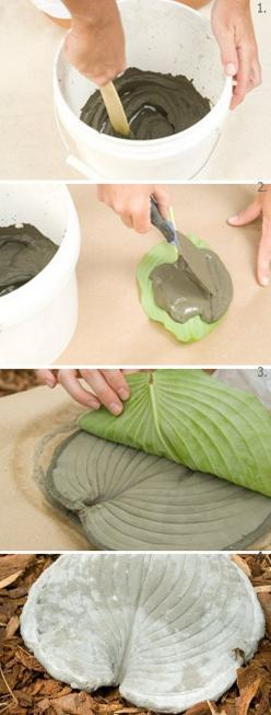 "Leaf stepping stones - 2 cups cement mixed with 1 cup water to make a ""paste"". Spread over leaf, let dry, peel leaf off. Cool stuff! Must try!: Alternative Gardening, Craft, Idea, Diy Stepping, Thick Paste, Cement Mixture, Bucket, Leaf Stepping St"