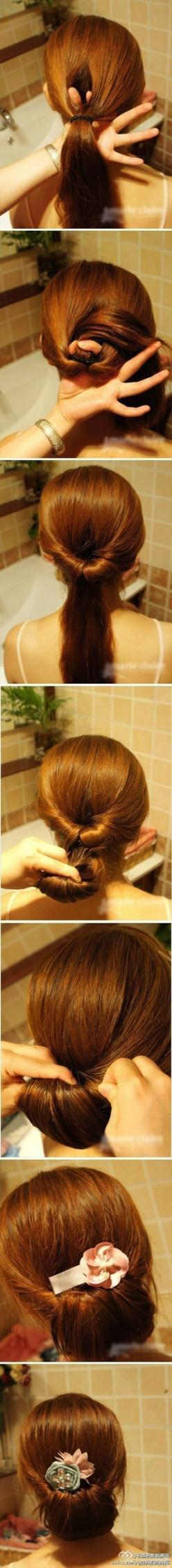 Lie and say this up-do took longer than brushing your teeth.   17 Ways To Never Have A Bad Hair Day Again: Easy Ponytail Hairstyle, Hair Updos Tutorial, Hair Bun, Quick Easy Hairstyle, Hair Style, Easy Bun, Easy Updo