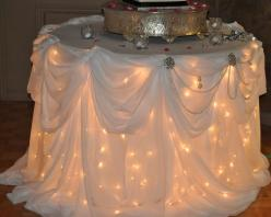 lights under the table linens.  not for guest tables, but maybe cake/gifts/etc tables...Amazing!: Head Table, Wedding Ideas, Cake Table, Weddings, Wedding Cakes, Dream Wedding, Weddingideas, Future Wedding, Party Ideas