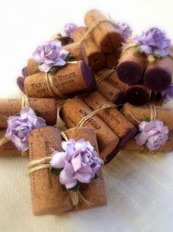 Lilac & Twine Place Card Holders bring a sip of lovely to your winery wedding.  Discover more sweet rustic wedding decorations at www.karasvineyardweddingshop.com Cheers!: Place Card Holders, Wine Cork Place Cards, Wedding Place Cards, Wine Corks Plac